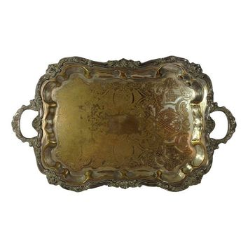 Pre-owned Antique Silver Plated Large Tea Tray