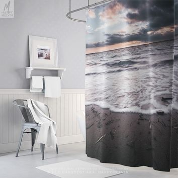 Ocean Shower Curtain With Coastal Photo Print, Sea Shower Curtain, Waves, Beach, Bath Curtain, Home Decor, Bathroom Decor, Sunset, Nautical