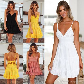 Summer Women Sexy Back Bow Dress Cocktail Party Slim Badycon Short Beach Party Mini Dresses Female White Lace Dress FS5744