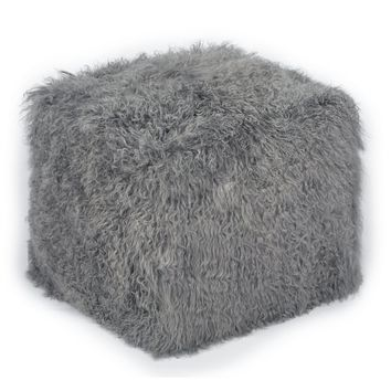 Tibetan Sheep Grey Pouf | Overstock.com Shopping - The Best Deals on Ottomans