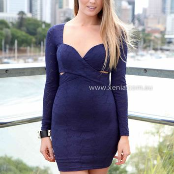 THE LONGEST RIDE DRESS , DRESSES, TOPS, BOTTOMS, JACKETS & JUMPERS, ACCESSORIES, 50% OFF , PRE ORDER, NEW ARRIVALS, PLAYSUIT, COLOUR, GIFT VOUCHER,,Blue,Print,CUT OUT,BODYCON,LONG SLEEVES,MINI Australia, Queensland, Brisbane