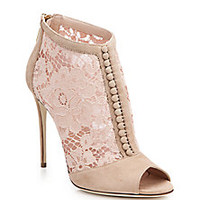Dolce & Gabbana - Lace & Suede Open-Toe Booties - Saks Fifth Avenue Mobile