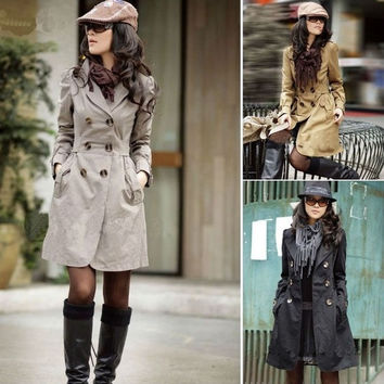 NEW HOT! WOMENS SLIM FIT LONG STYLE TRENCH DOUBLE BREASTED COAT WF-3520 = 1929857988