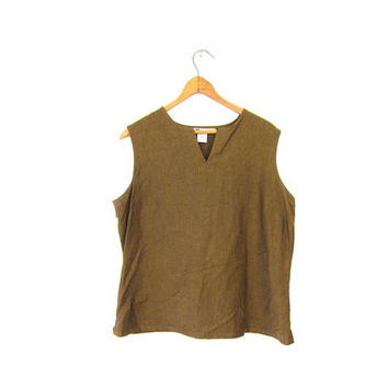 90s Copper Brown Minimal Tank Top Plain Sleeveless Shirt Slouchy Cropped Blouse Loose Fitting Minimalist Modern Tee Vintage Medium Large