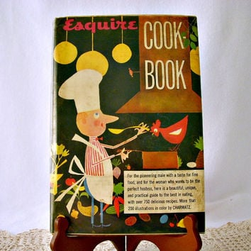 Vintage 1950's Esquire Cook Book, Arnold Gingrich, Retro Illustrations by Charmatz, Mid Century Cook Book