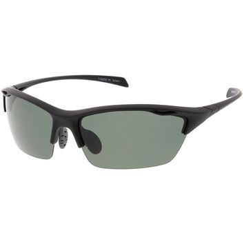 Sports TR-90 Semi-Rimless Wrap Sunglasses Ventilation Holes Polarized Lens 68mm