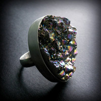 Metallic Druzy Ring Handforged Sterling Silver  by AndewynDesigns