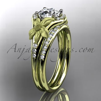 14kt yellow gold diamond leaf and vine wedding ring, engagement set ADLR91 nature inspired jewelry