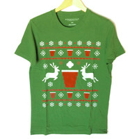 Beer Pong Ugly Christmas Sweater Style T-Shirt