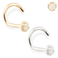 14K real gold (Nickel free) nose screw with 1.5mm clear CZ gem