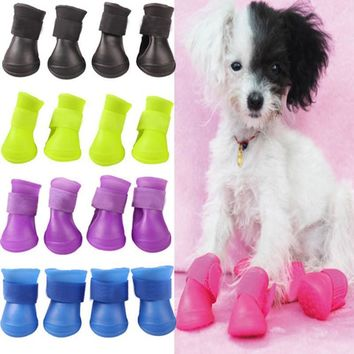 4PCS/set Lovely Dog Shoes Puppy Candy Colors Rubber Boots Waterproof Pet Rain Shoes Si
