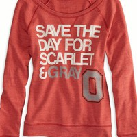 AEO Women's Ohio State Vintage Raglan T-shirt (Red)