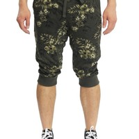 Men's Tonal Floral French Terry Jogger Shorts JC371 - F7D