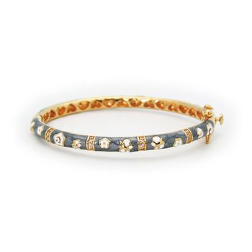 BecKids Gray Enamel Bangle Bracelet for Girls: 18k Gold Plated Flowers