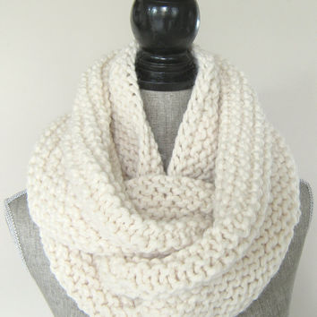 Women's Chunky Knit Ivory Cowl - Wool Blend Women's Infinity Scarf - Knit Grey Cowl - Winter Scarf In Stock and Ready to Ship