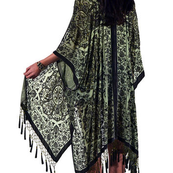 Sage Medallion Brocade Velvet Burnout Gypsy Beaded Fringe Tassel Kimono Duster
