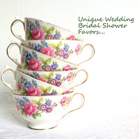 Set of 6 - Vintage Tea Cups and Saucers/Bridal Shower Favors/Wedding Favors/Tea Party