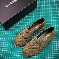 2018 New Chanel Pre Collection Lambskin Grosgrain Army Green Espadrilles - Best Online Sale