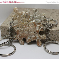 Puzzle Keychains Bridesmaid Best Friend Jewelry Set of 4  Dots and Swirls Pearl Set 21