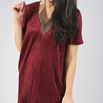 wild west suede dress - wine