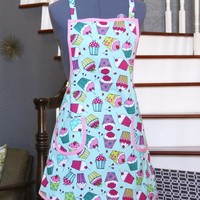 Aprons for Women Cupcakes, Blue Handmade Arpons, Womens Aprons, Retro Aprons Women, Hortencia Apron