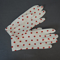 50s White & Red Polka Dot Gloves, size 7, Embroidered Vintage 1950s nylon dress gloves by Hansen