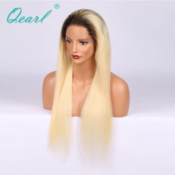 150% Density 14in-22in Long Straight Ombre 1B/613 Dark Root Lace Front Wig With Baby Hair For Women