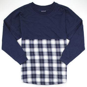 Navy and Silver Plaid Pom Pom Jersey