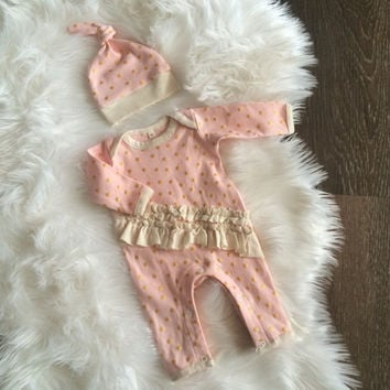 ORGANIC newborn one piece and hat in metallic gold, pink, cream, take home outfit, made by Lily & Charlie organic baby. Ready to ship!