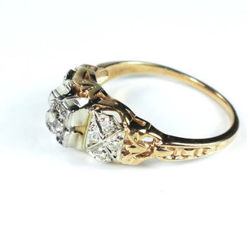 Antique Diamond Engagement Ring 14k Diamond Ring Vintage Diamond Ring 1930's Old Mine Cut Diamond Art Nouveau Art Deco Promise Ring