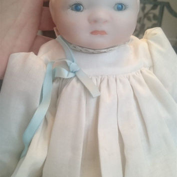 Vintage Grace S Putnam Bisque Porcelain and Cloth Baby Doll Reproduction Art Doll