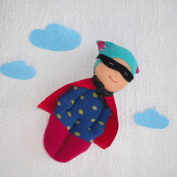 Waldorf Doll, Superhero, Sock  doll, Pocket doll, Toddler doll , Cloth doll, Rag doll, Handmade