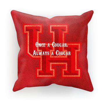 """Red Houston University """"Once a Cougar, Always a Cougar"""" Cushion"""