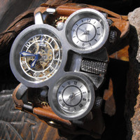 Steampunk mens watch, Steampunk watch, cuff watch, Montre steampunk, Skeleton watch, steampunk skeleton, Mechanical Man Leather Watch