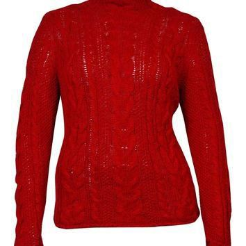 Lauren Ralph Lauren Women's Turtleneck Cable Knit Sweater (L, Madison Red)