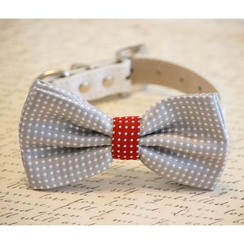 Gray Polka dots bow tie dog wedding accessory, Dog Lovers, polka dots wedding