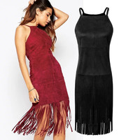 Summer Slim Tassels Spaghetti Strap One Piece Dress [4920237508]