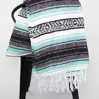 MEXICAN BLANKET, mint aztec, hand woven, vintage