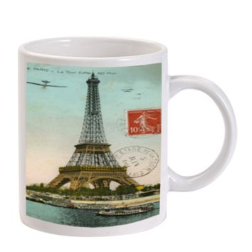 Gift Mugs | Eiffel Tower Post Card Ceramic Coffee Mugs