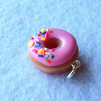 strawberry frosted doughnut charm by ScrumptiousDoodle on Etsy