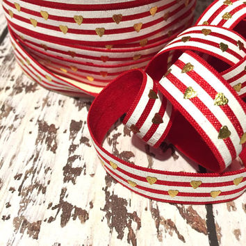 """Red White Gold Foil Hearts 5/8"""" Fold Over Elastic, FOE, Hair Accessory Supplies"""