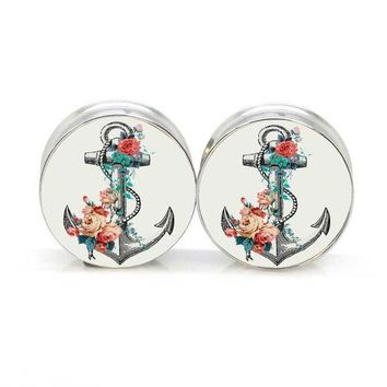 ac PEAPO2Q 1 pair anchor flower stainless steel night owl plug tunnels double flare ear plug gauges body piercing jewelry