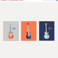 Kids Wall Art Boy room decor Guitar Prints in navy, orange, gray Home Decor Prints Gift for him Print Art Baby Boy Nursery Art Yassi