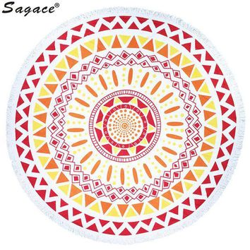 ESBU3C Trendy Boho Print Tassel Shawl Decor Art Round Hippie Tapestry Beach Throw Roundie Mandala Towel Yoga Mat Bohemian Wrap Aug22