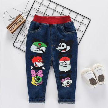 2017 new Children Mickey jeans cotton Boy Baby trousers kids clothing children's long jeans pants for 2-7years