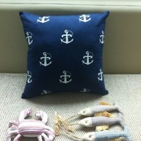 "Canvas Decorative Pillow Case Pillow Cover Case 18"" x 18"" Square Shape Full Anchor Printed Surface DP 0428"