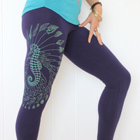Sea Horse Yoga Leggings - Leafy sea dragon and Seashells leggings. Boho geometric leggings. Mint/gold print on 4 colors. Bohemian leggings.