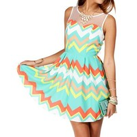 LimeWhite Illusion Chevron Sundress