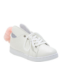 White Bunny Lace-Up Sneakers