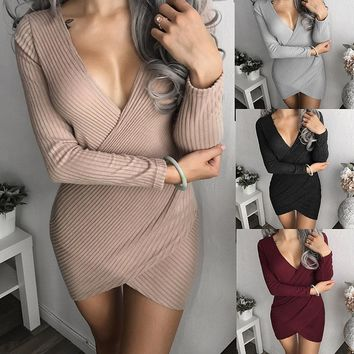 Women Long Sleeve V-neck Bodycon Club Wear Mini Dress